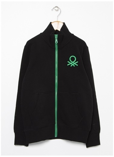Benetton Benetton Logolu Siyah Erkek Çocuk Sweatshirt Siyah